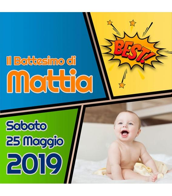 Inviti Battesimo - Comic - 15x15
