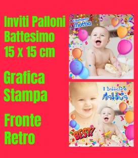 Inviti Battesimo - Palloni - 15x15