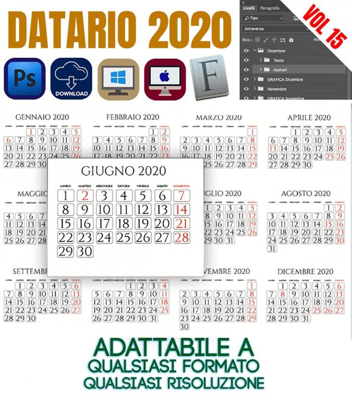 Calendario 2020 Orizzontale.Datario Calendario 2020 Vol 15 Prodotti E Servizi Per