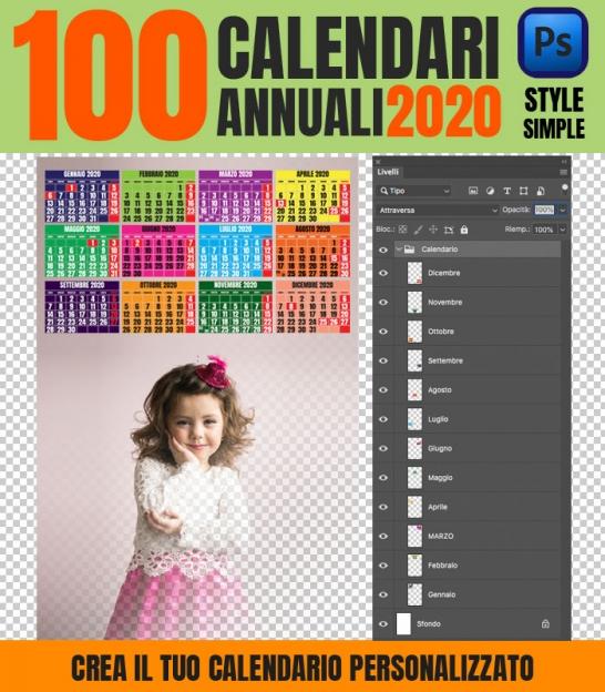 Calendario Personalizzato Con Foto 2020.100 Calendari 2020 Personalizzati Simple